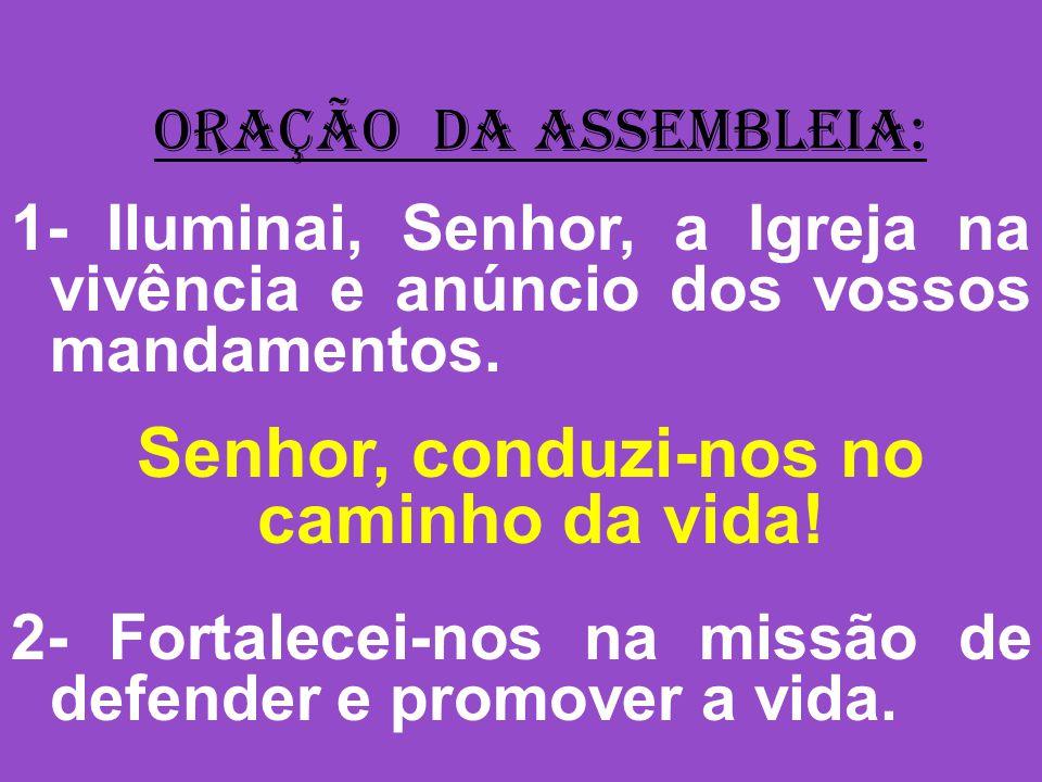 ORAÇÃO DA ASSEMBLEIA: 1- Iluminai, Senhor, a Igreja na vivência e anúncio dos vossos mandamentos.