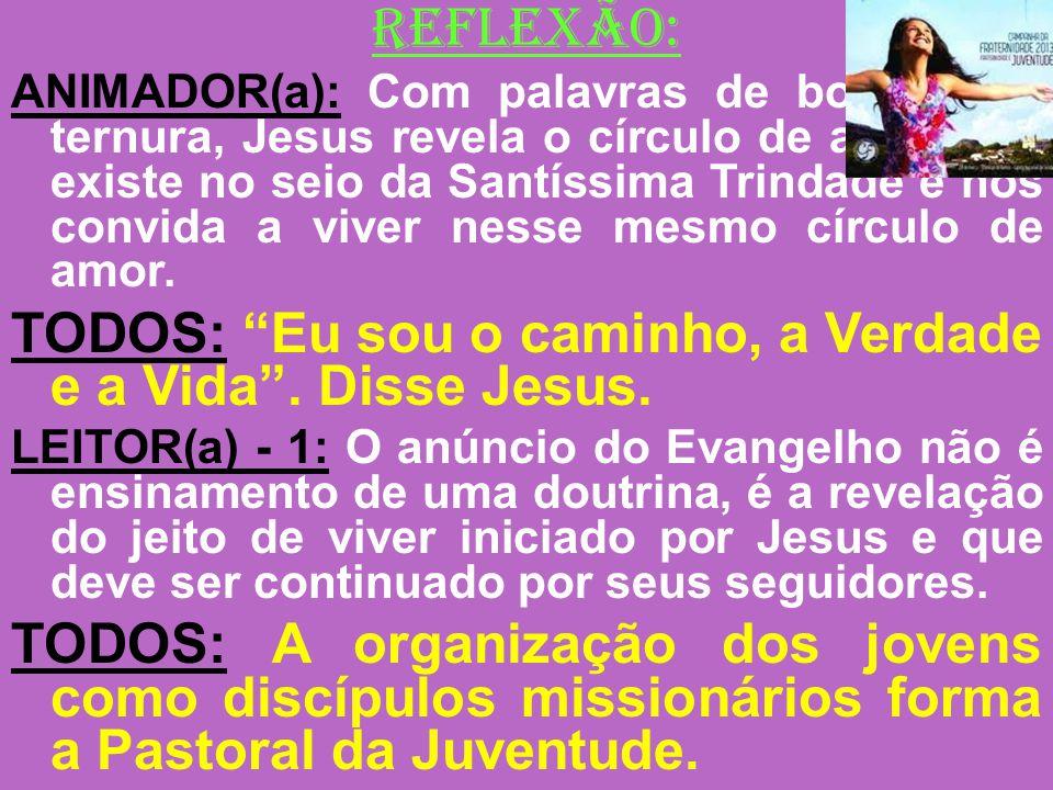 REFLEXÃO: ANIMADOR(a): Com palavras de bondade e ternura, Jesus revela o círculo de amor que existe no seio da Santíssima Trindade e nos convida a viv