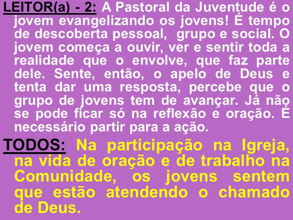 LEITOR(a) - 2: A Pastoral da Juventude é o jovem evangelizando os jovens! É tempo de descoberta pessoal, grupo e social. O jovem começa a ouvir, ver e