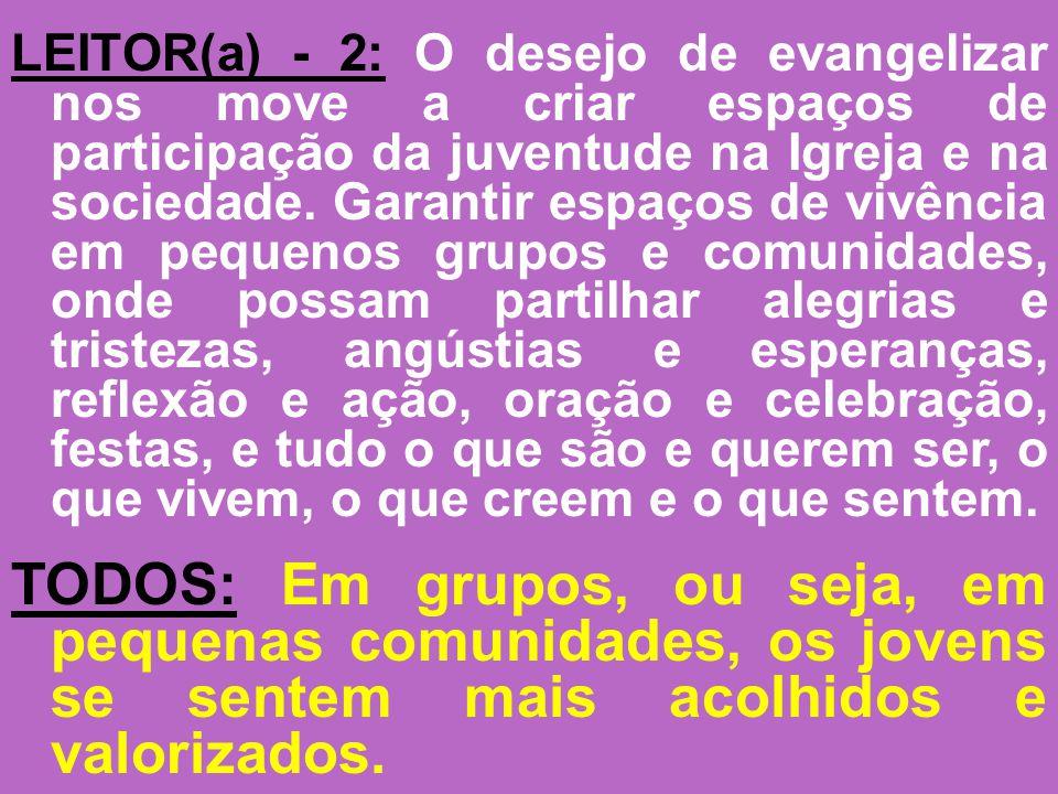 LEITOR(a) - 2: O desejo de evangelizar nos move a criar espaços de participação da juventude na Igreja e na sociedade. Garantir espaços de vivência em