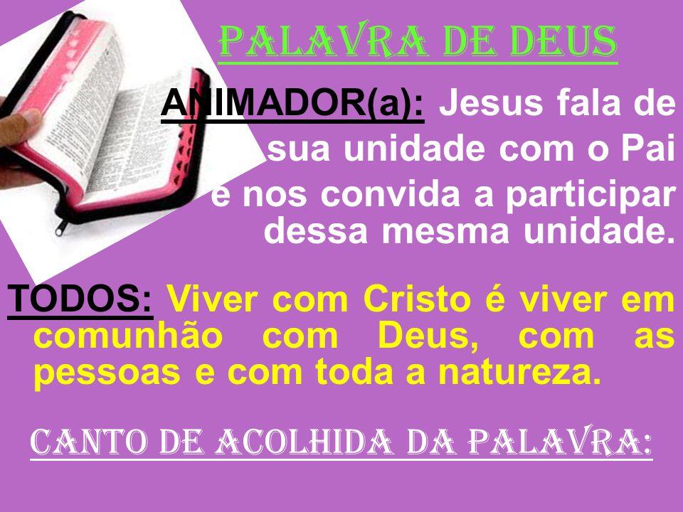 PALAVRA DE DEUS ANIMADOR(a): Jesus fala de sua unidade com o Pai e nos convida a participar dessa mesma unidade. TODOS: Viver com Cristo é viver em co