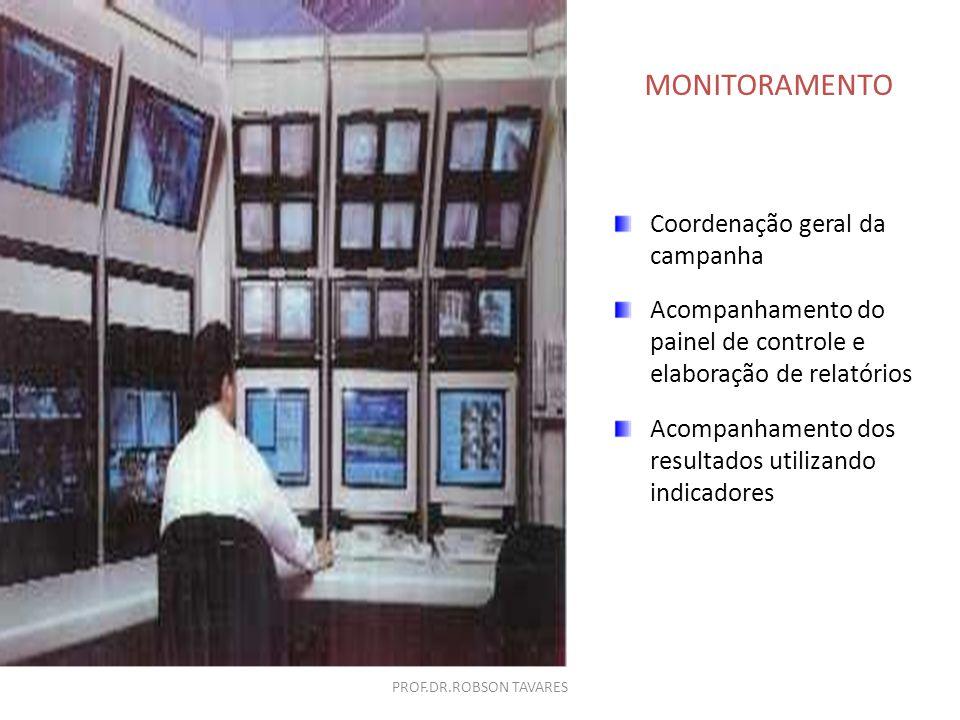 Coordenação geral da campanha Acompanhamento do painel de controle e elaboração de relatórios Acompanhamento dos resultados utilizando indicadores MON