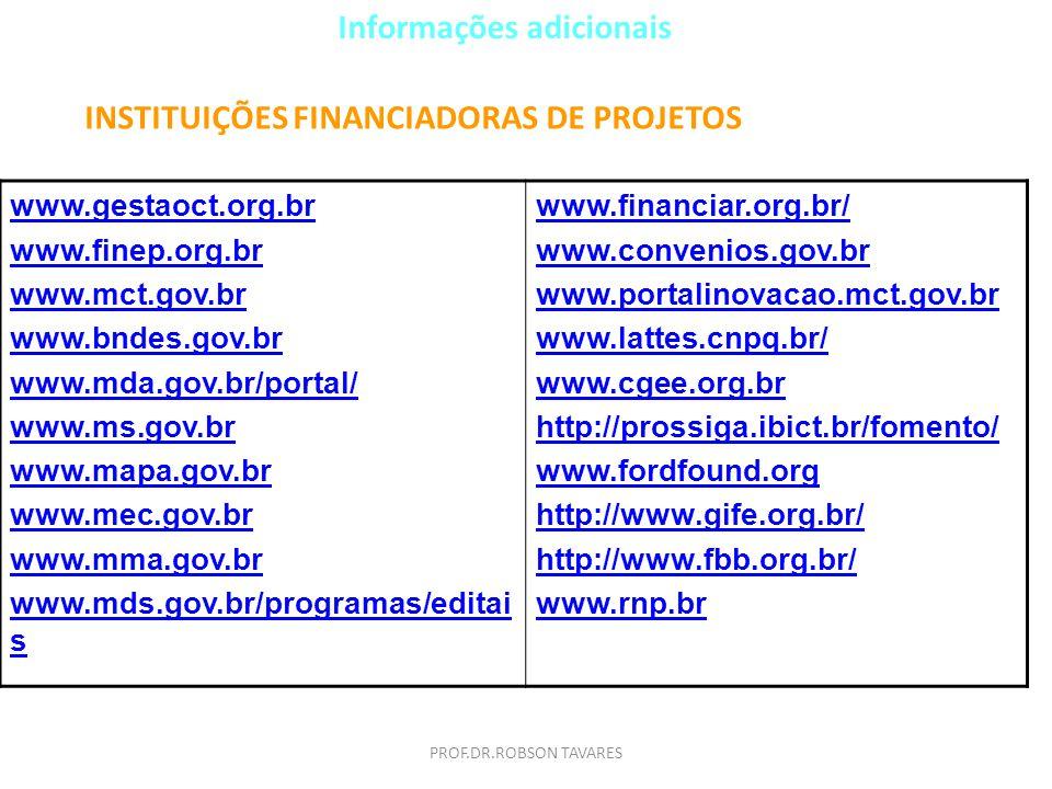 Informações adicionais INSTITUIÇÕES FINANCIADORAS DE PROJETOS www.gestaoct.org.br www.finep.org.br www.mct.gov.br www.bndes.gov.br www.mda.gov.br/port