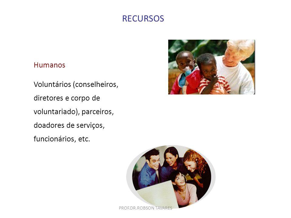 RECURSOS Humanos Voluntários (conselheiros, diretores e corpo de voluntariado), parceiros, doadores de serviços, funcionários, etc. PROF.DR.ROBSON TAV
