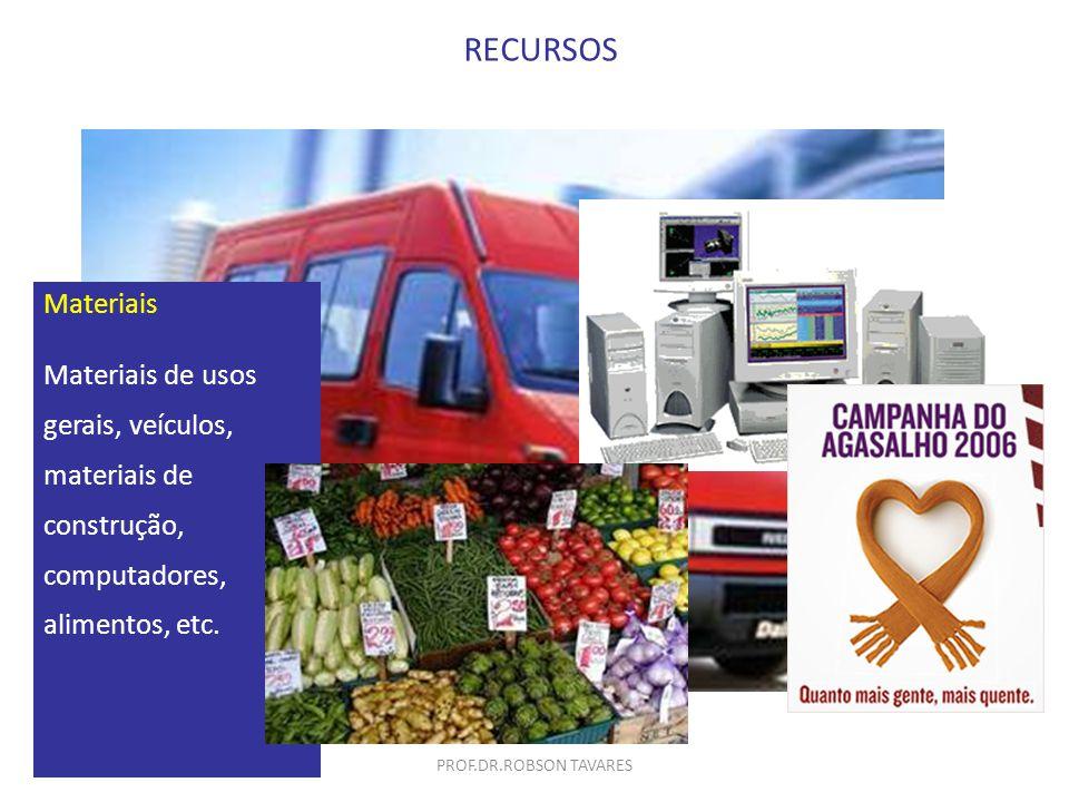 Materiais Materiais de usos gerais, veículos, materiais de construção, computadores, alimentos, etc. RECURSOS PROF.DR.ROBSON TAVARES