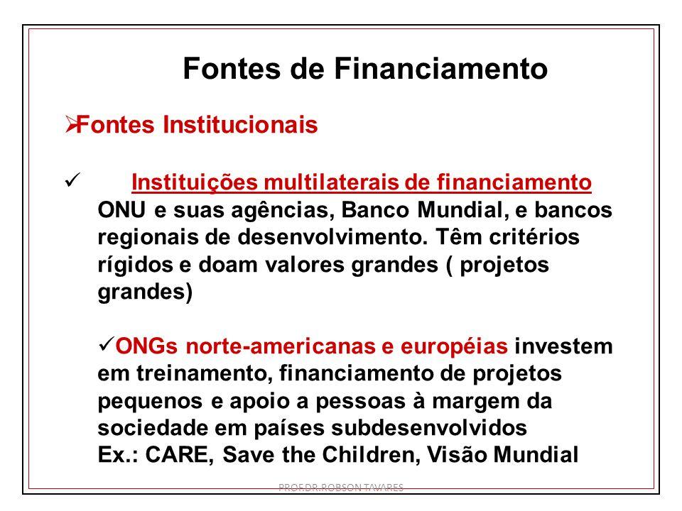 Fontes de Financiamento Fontes Institucionais Instituições multilaterais de financiamento ONU e suas agências, Banco Mundial, e bancos regionais de de