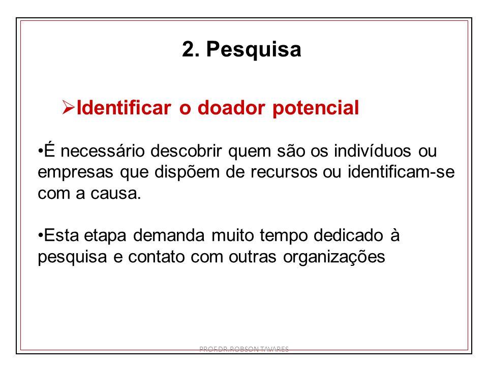 2. Pesquisa Identificar o doador potencial É necessário descobrir quem são os indivíduos ou empresas que dispõem de recursos ou identificam-se com a c