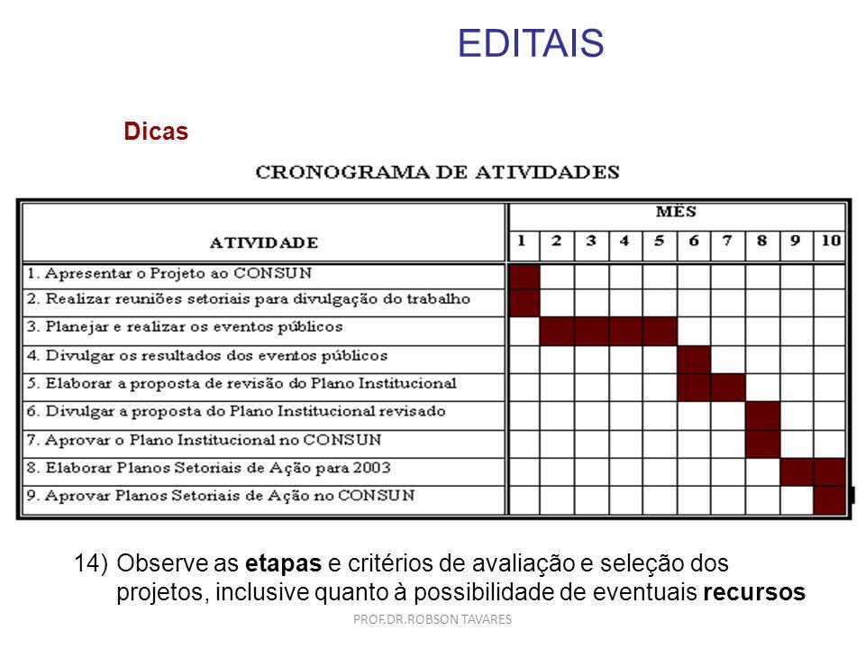 EDITAIS 14)Observe as etapas e critérios de avaliação e seleção dos projetos, inclusive quanto à possibilidade de eventuais recursos Dicas PROF.DR.ROB
