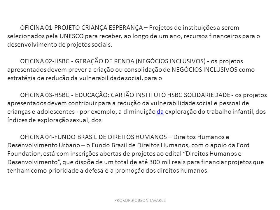 OFICINA 01-PROJETO CRIANÇA ESPERANÇA – Projetos de instituições a serem selecionados pela UNESCO para receber, ao longo de um ano, recursos financeiro