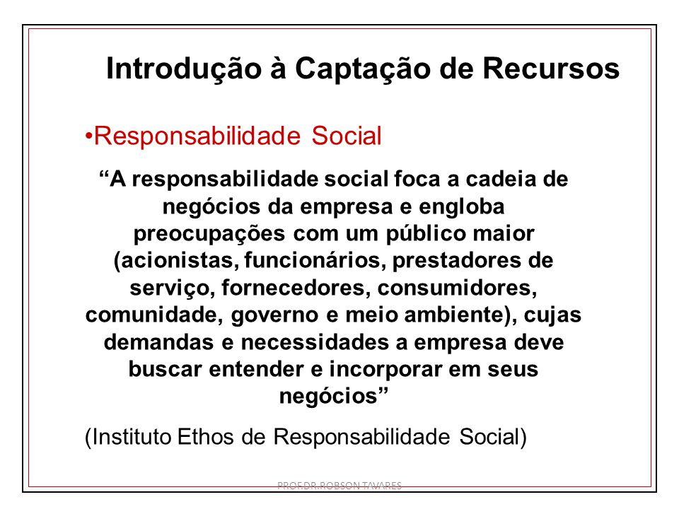 Introdução à Captação de Recursos Responsabilidade Social A responsabilidade social foca a cadeia de negócios da empresa e engloba preocupações com um