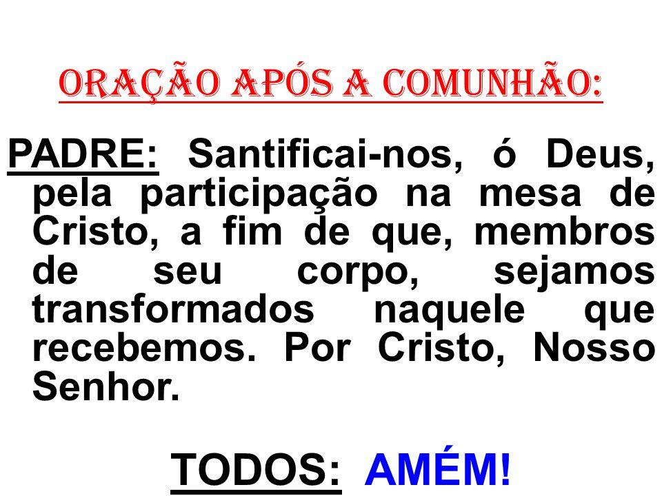 ORAÇÃO APÓS A COMUNHÃO: PADRE: Santificai-nos, ó Deus, pela participação na mesa de Cristo, a fim de que, membros de seu corpo, sejamos transformados