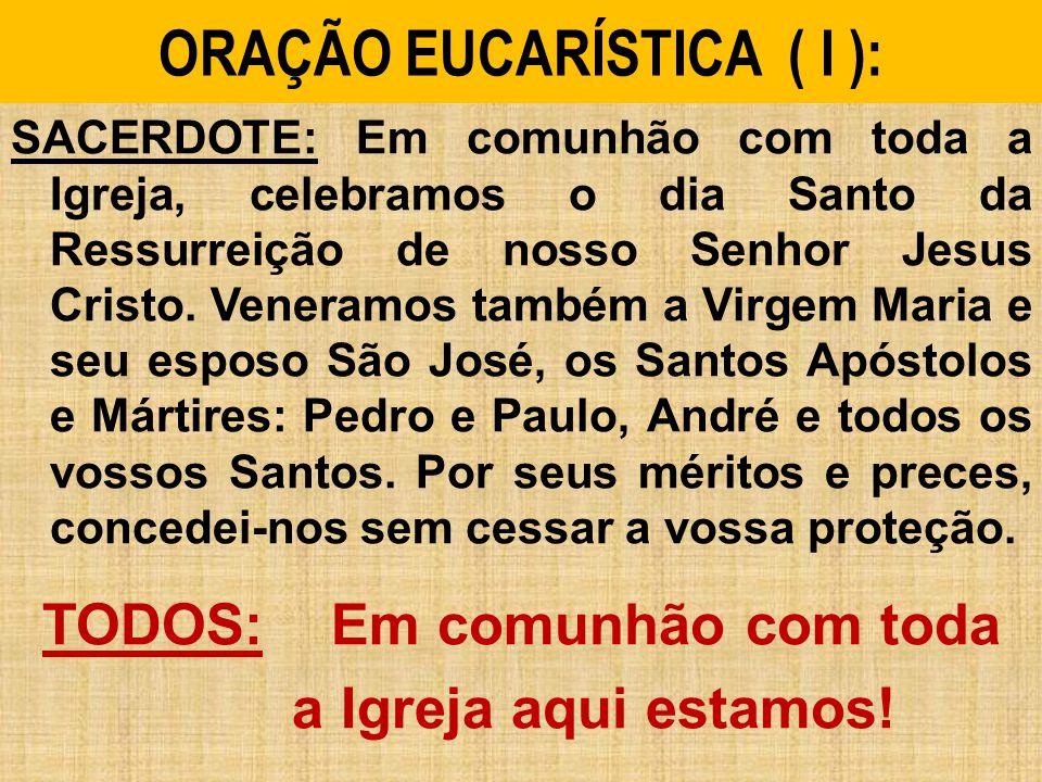 ORAÇÃO EUCARÍSTICA ( I ): SACERDOTE: Em comunhão com toda a Igreja, celebramos o dia Santo da Ressurreição de nosso Senhor Jesus Cristo.