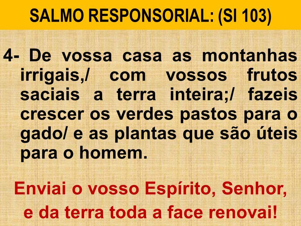 SALMO RESPONSORIAL: (Sl 103) 4- De vossa casa as montanhas irrigais,/ com vossos frutos saciais a terra inteira;/ fazeis crescer os verdes pastos para o gado/ e as plantas que são úteis para o homem.