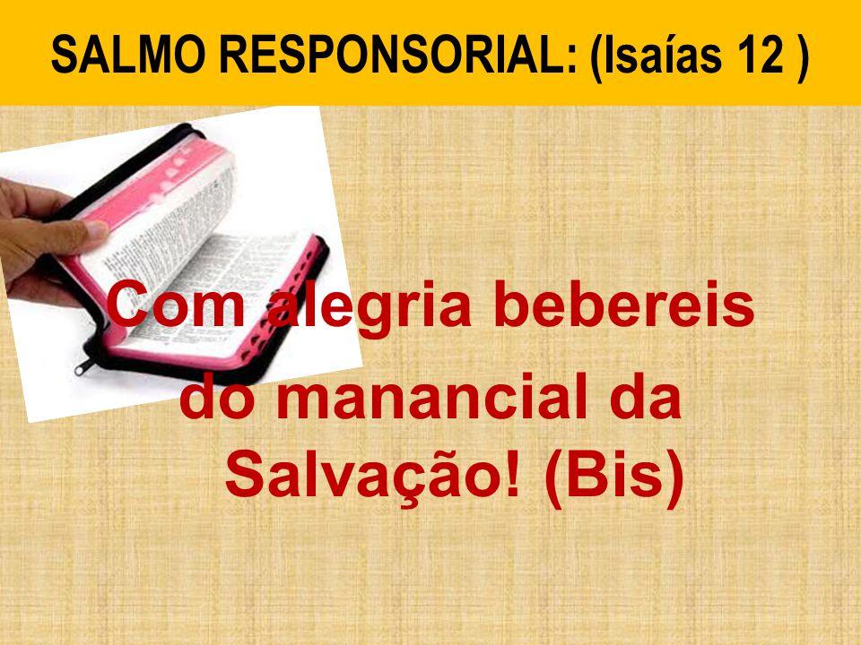 SALMO RESPONSORIAL: (Isaías 12 ) Com alegria bebereis do manancial da Salvação! (Bis)