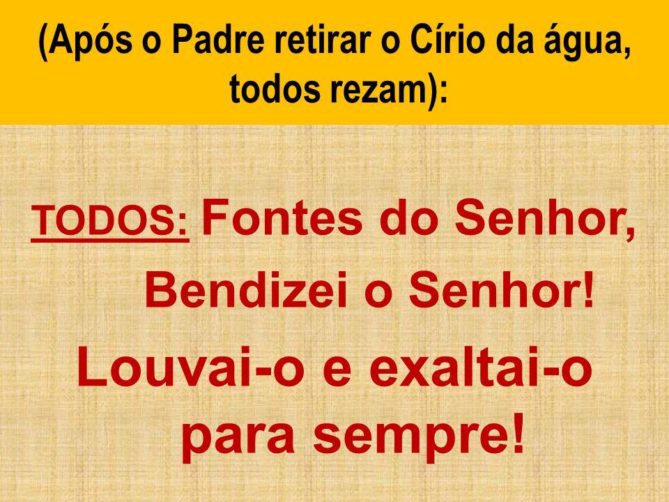 (Após o Padre retirar o Círio da água, todos rezam): TODOS: Fontes do Senhor, Bendizei o Senhor! Louvai-o e exaltai-o para sempre!