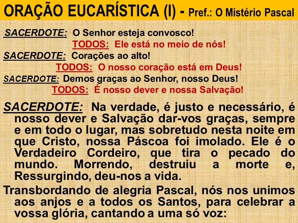 ORAÇÃO EUCARÍSTICA (I) - Pref.: O Mistério Pascal SACERDOTE: O Senhor esteja convosco.