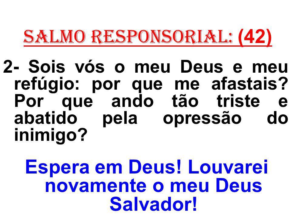 salmo responsorial: (42) 2- Sois vós o meu Deus e meu refúgio: por que me afastais? Por que ando tão triste e abatido pela opressão do inimigo? Espera