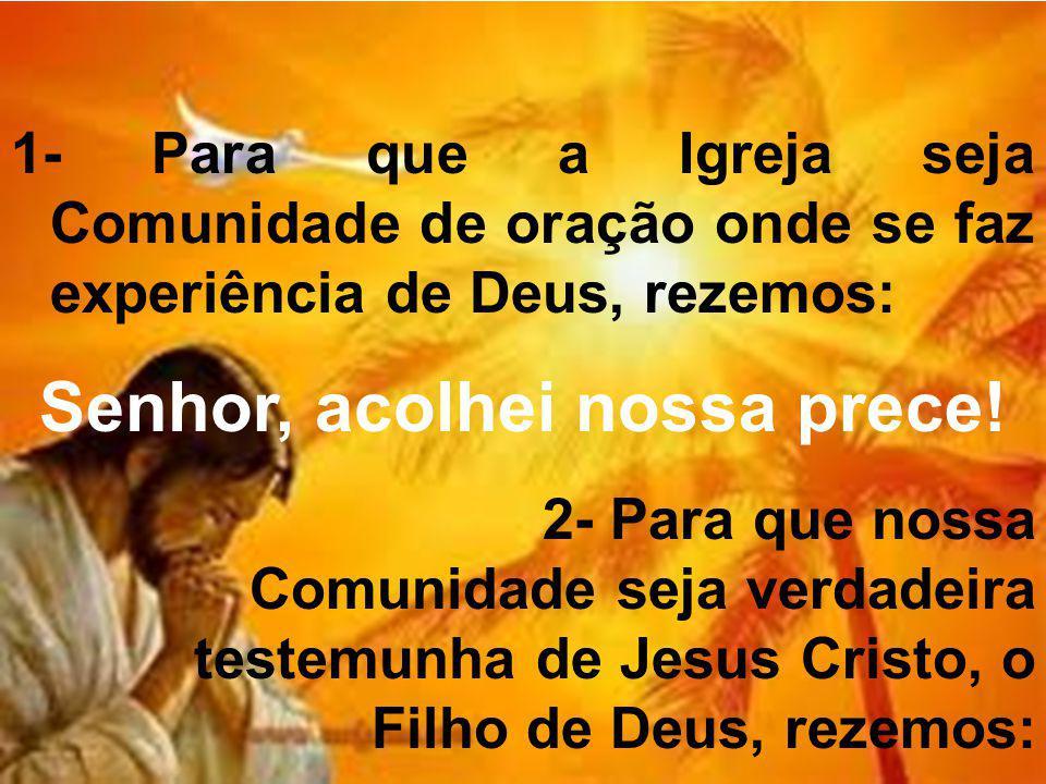 1- Para que a Igreja seja Comunidade de oração onde se faz experiência de Deus, rezemos: Senhor, acolhei nossa prece! 2- Para que nossa Comunidade sej