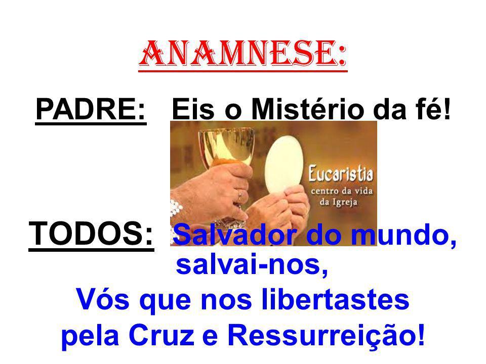 ANAMNESE: PADRE: Eis o Mistério da fé! TODOS: Salvador do mundo, salvai-nos, Vós que nos libertastes pela Cruz e Ressurreição!