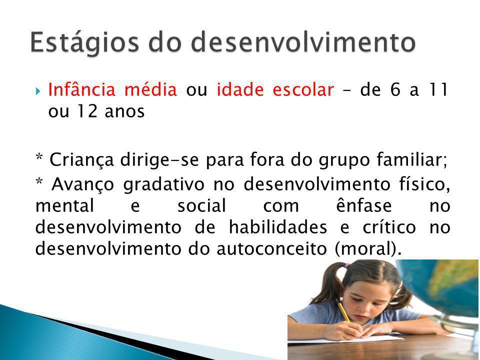 Infância média ou idade escolar – de 6 a 11 ou 12 anos * Criança dirige-se para fora do grupo familiar; * Avanço gradativo no desenvolvimento físico,