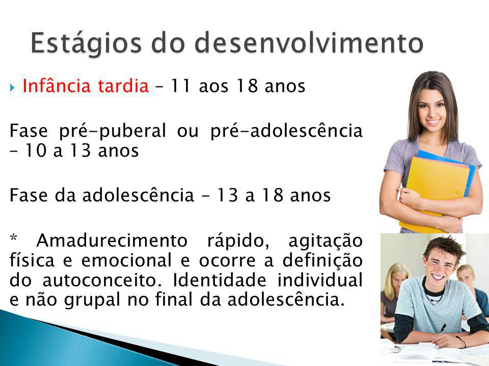 Infância tardia – 11 aos 18 anos Fase pré-puberal ou pré-adolescência – 10 a 13 anos Fase da adolescência – 13 a 18 anos * Amadurecimento rápido, agit