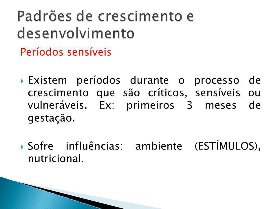 Períodos sensíveis Existem períodos durante o processo de crescimento que são críticos, sensíveis ou vulneráveis. Ex: primeiros 3 meses de gestação. S