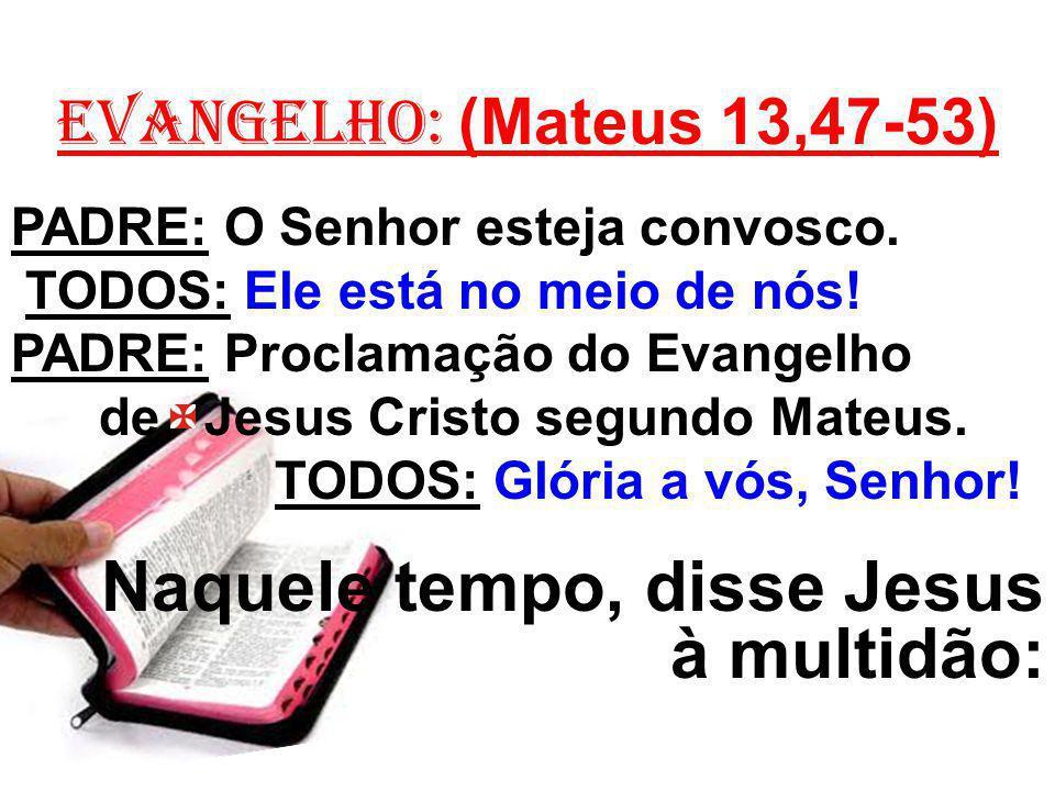 EVANGELHO: (Mateus 13,47-53) PADRE: O Senhor esteja convosco. TODOS: Ele está no meio de nós! PADRE: Proclamação do Evangelho de Jesus Cristo segundo