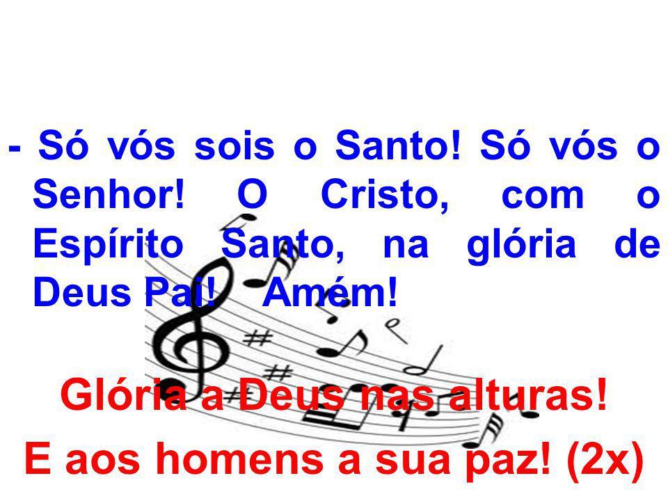 - Só vós sois o Santo! Só vós o Senhor! O Cristo, com o Espírito Santo, na glória de Deus Pai! Amém! Glória a Deus nas alturas! E aos homens a sua paz