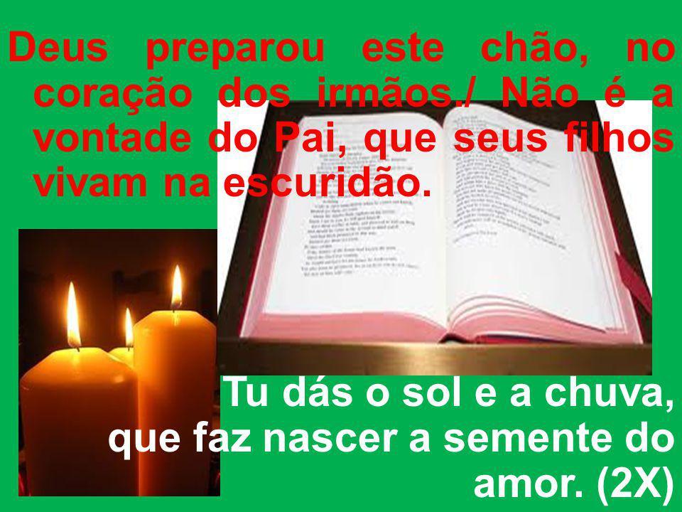 Deus preparou este chão, no coração dos irmãos./ Não é a vontade do Pai, que seus filhos vivam na escuridão. Tu dás o sol e a chuva, que faz nascer a