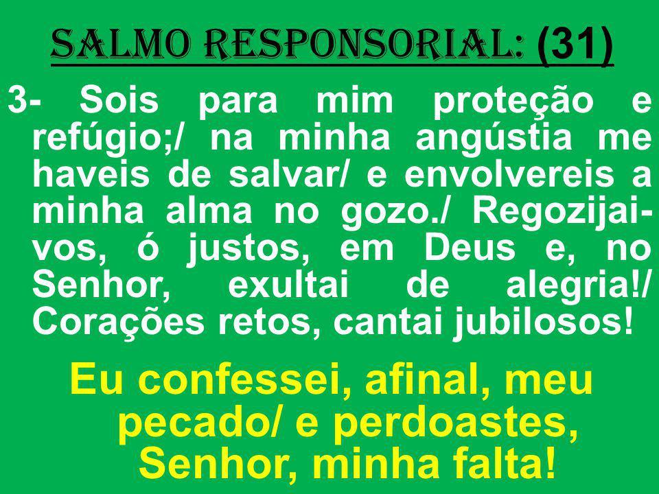 salmo responsorial: (31) 3- Sois para mim proteção e refúgio;/ na minha angústia me haveis de salvar/ e envolvereis a minha alma no gozo./ Regozijai-
