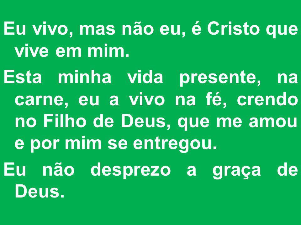 Eu vivo, mas não eu, é Cristo que vive em mim. Esta minha vida presente, na carne, eu a vivo na fé, crendo no Filho de Deus, que me amou e por mim se