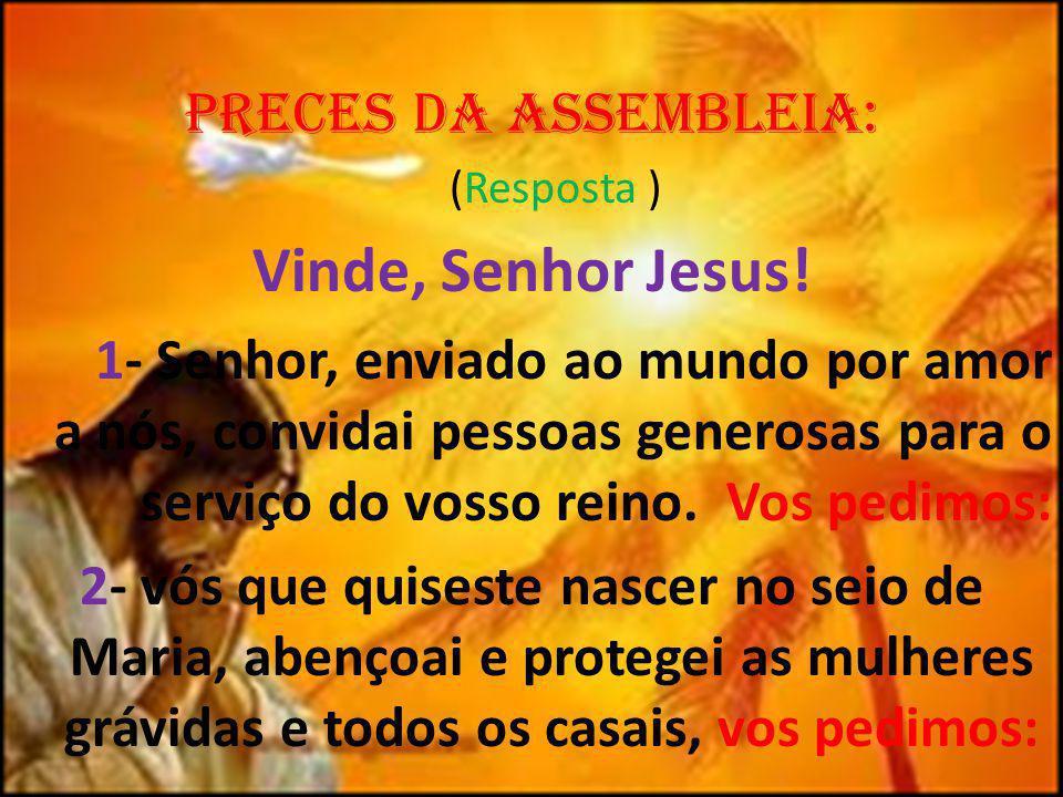 Preces da AssembLeia: (Resposta ) Vinde, Senhor Jesus! 1- Senhor, enviado ao mundo por amor a nós, convidai pessoas generosas para o serviço do vosso