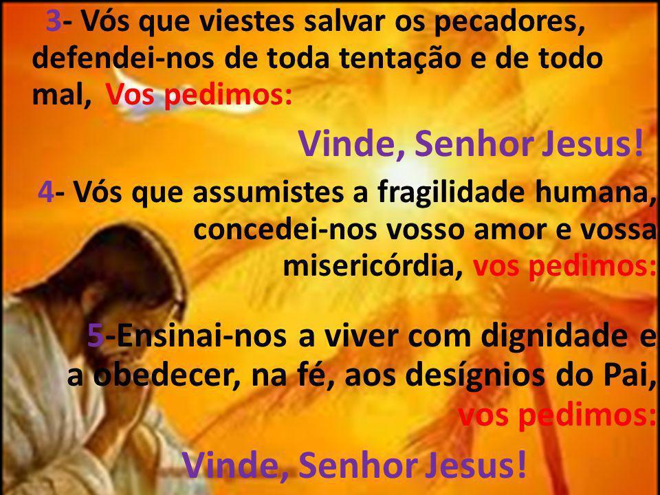 3- Vós que viestes salvar os pecadores, defendei-nos de toda tentação e de todo mal, Vos pedimos: Vinde, Senhor Jesus! 4- Vós que assumistes a fragili