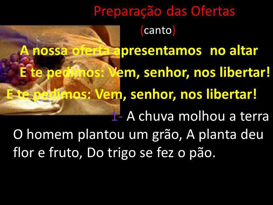 Preparação das Ofertas (canto) A nossa oferta apresentamos no altar E te pedimos: Vem, senhor, nos libertar! 1- A chuva molhou a terra O homem plantou