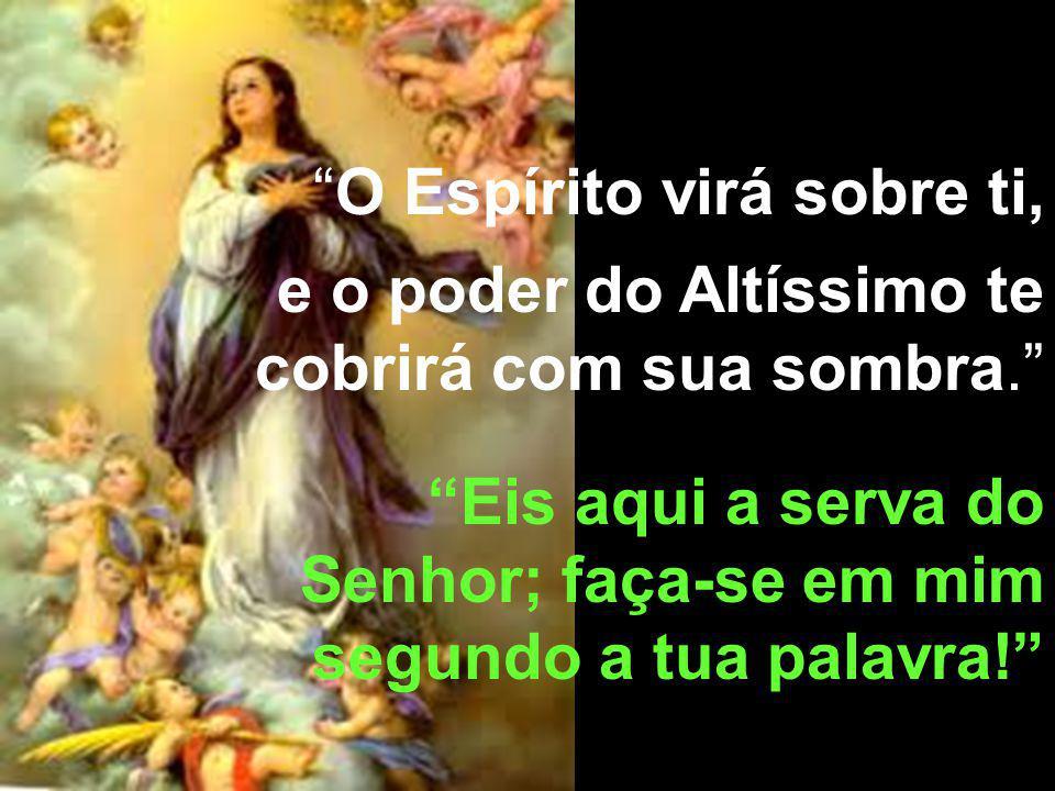 O Espírito virá sobre ti, e o poder do Altíssimo te cobrirá com sua sombra. Eis aqui a serva do Senhor; faça-se em mim segundo a tua palavra!
