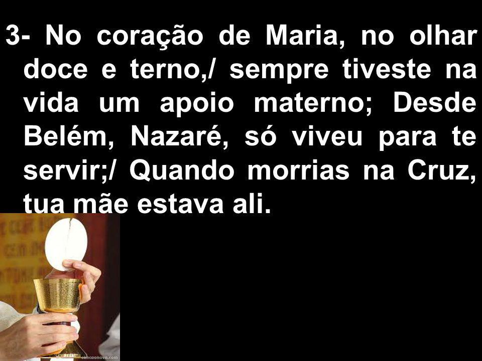 3- No coração de Maria, no olhar doce e terno,/ sempre tiveste na vida um apoio materno; Desde Belém, Nazaré, só viveu para te servir;/ Quando morrias