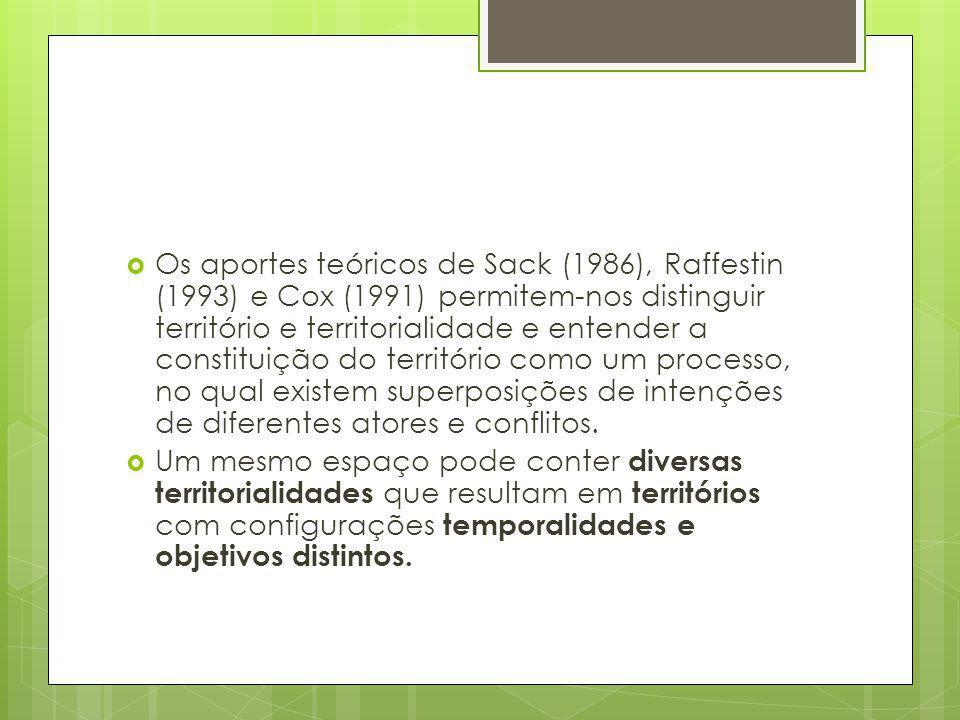 Os aportes teóricos de Sack (1986), Raffestin (1993) e Cox (1991) permitem-nos distinguir território e territorialidade e entender a constituição do t
