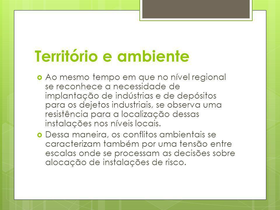 Território e ambiente Ao mesmo tempo em que no nível regional se reconhece a necessidade de implantação de indústrias e de depósitos para os dejetos i