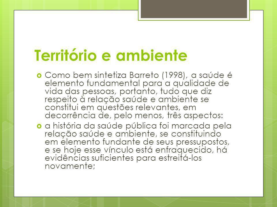 Território e ambiente Como bem sintetiza Barreto (1998), a saúde é elemento fundamental para a qualidade de vida das pessoas, portanto, tudo que diz r