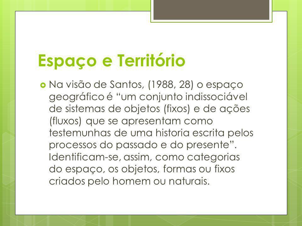 Espaço e Território Na visão de Santos, (1988, 28) o espaço geográfico é um conjunto indissociável de sistemas de objetos (fixos) e de ações (fluxos)