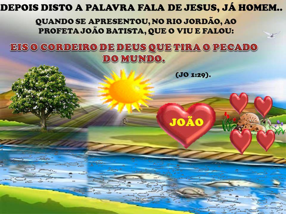 JOÃO DEPOIS DISTO A PALAVRA FALA DE JESUS, JÁ HOMEM.. QUANDO SE APRESENTOU, NO RIO JORDÃO, AO PROFETA JOÃO BATISTA, QUE O VIU E FALOU: (JO 1:29). JESU