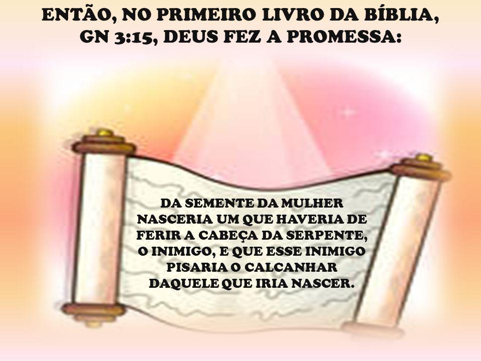 ENTÃO, NO PRIMEIRO LIVRO DA BÍBLIA, GN 3:15, DEUS FEZ A PROMESSA: DA SEMENTE DA MULHER NASCERIA UM QUE HAVERIA DE FERIR A CABEÇA DA SERPENTE, O INIMIG