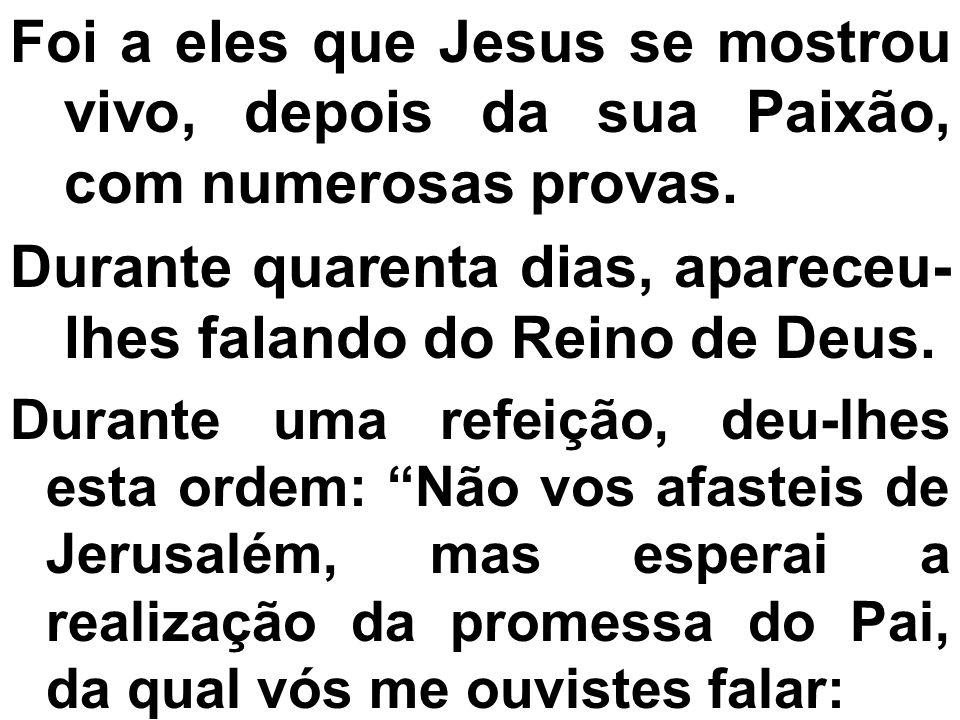 Foi a eles que Jesus se mostrou vivo, depois da sua Paixão, com numerosas provas. Durante quarenta dias, apareceu- lhes falando do Reino de Deus. Dura