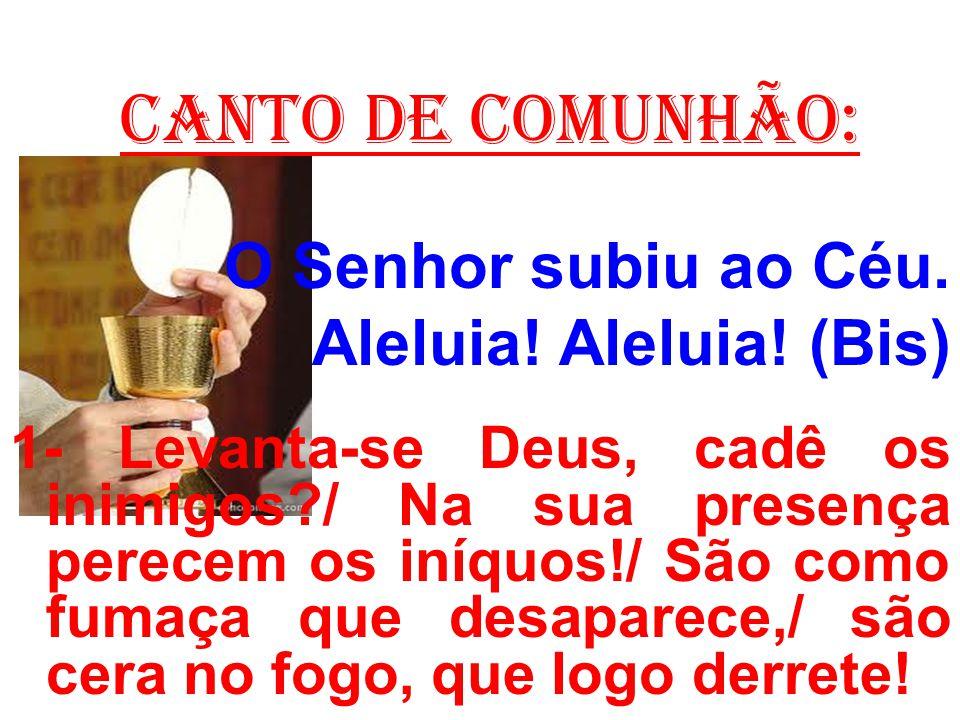 CANTO DE COMUNHÃO: O Senhor subiu ao Céu. Aleluia! Aleluia! (Bis) 1- Levanta-se Deus, cadê os inimigos?/ Na sua presença perecem os iníquos!/ São como