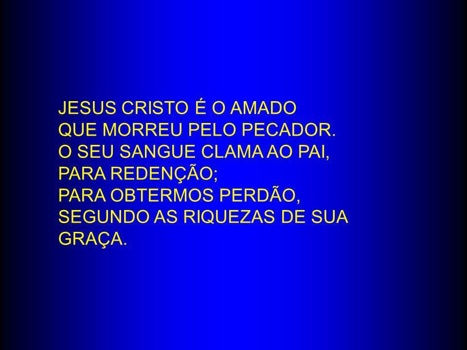 JESUS CRISTO É O AMADO QUE MORREU PELO PECADOR. O SEU SANGUE CLAMA AO PAI, PARA REDENÇÃO; PARA OBTERMOS PERDÃO, SEGUNDO AS RIQUEZAS DE SUA GRAÇA.