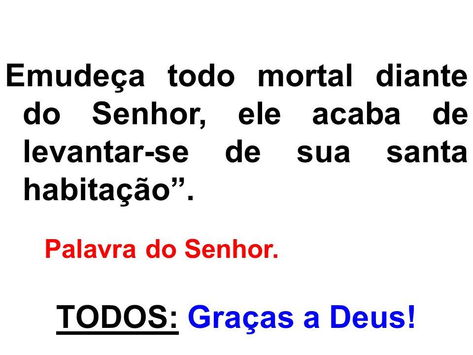 Emudeça todo mortal diante do Senhor, ele acaba de levantar-se de sua santa habitação. Palavra do Senhor. TODOS: Graças a Deus!