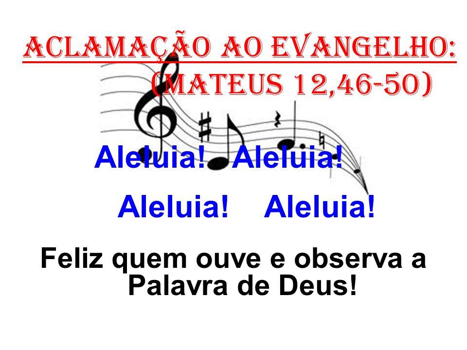 ACLAMAÇÃO AO EVANGELHO: (Mateus 12,46-50) Aleluia! Aleluia! Feliz quem ouve e observa a Palavra de Deus!