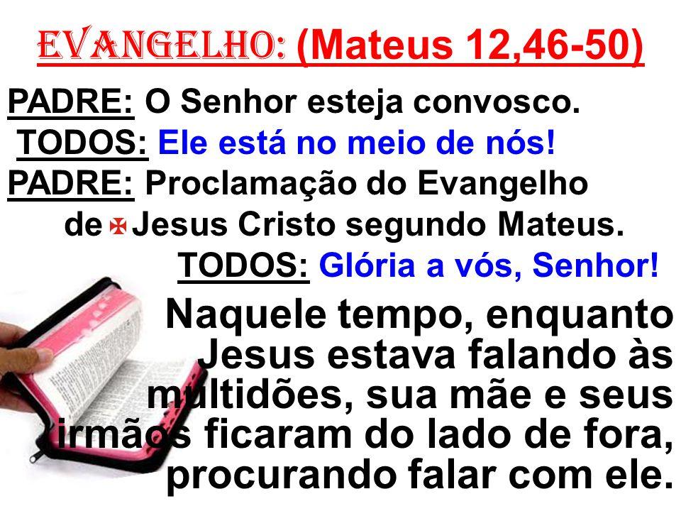 EVANGELHO: (Mateus 12,46-50) PADRE: O Senhor esteja convosco. TODOS: Ele está no meio de nós! PADRE: Proclamação do Evangelho de Jesus Cristo segundo