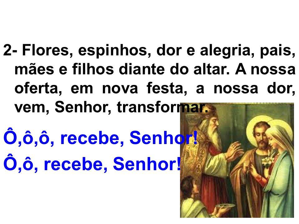 2- Flores, espinhos, dor e alegria, pais, mães e filhos diante do altar. A nossa oferta, em nova festa, a nossa dor, vem, Senhor, transformar. Ô,ô,ô,