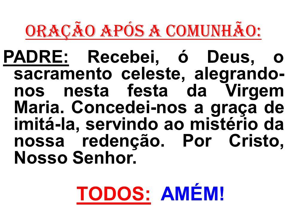 ORAÇÃO APÓS A COMUNHÃO: PADRE: Recebei, ó Deus, o sacramento celeste, alegrando- nos nesta festa da Virgem Maria. Concedei-nos a graça de imitá-la, se